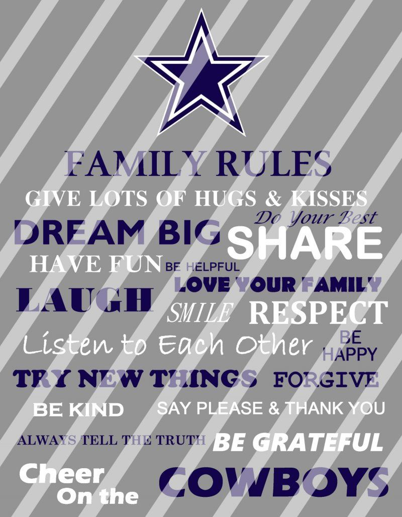 8b25e80977a Dallas Cowboys Family Rules Wall Decor Sign (instant download or shipped)