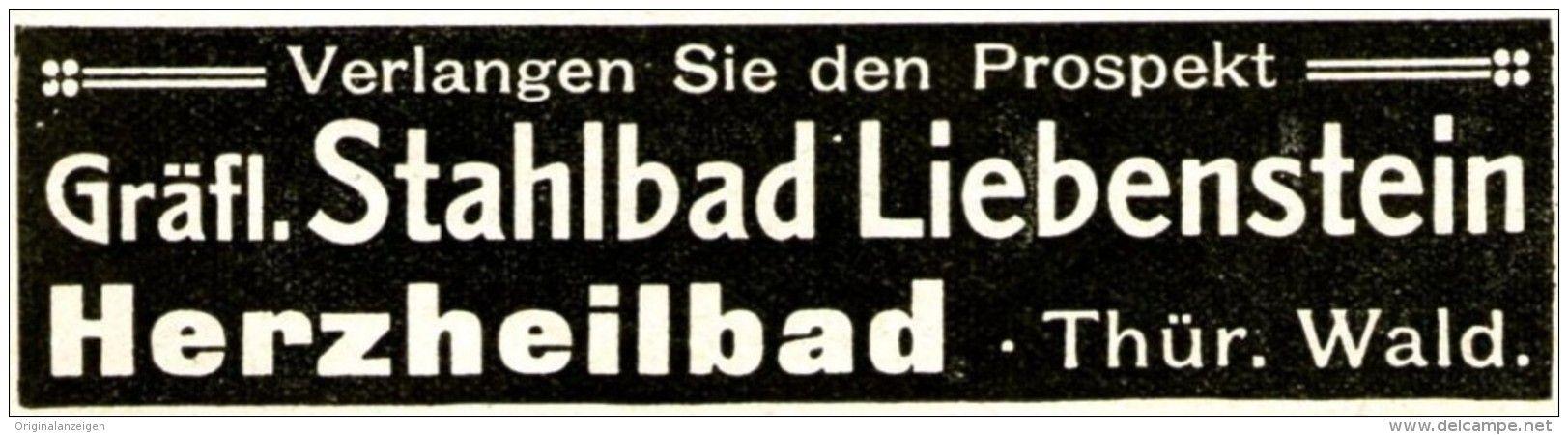 Original-Werbung/ Anzeige 1916 - GRÄFLICHES STAHLBAD LIEBENSTEIN - ca. 90 x 25 mm