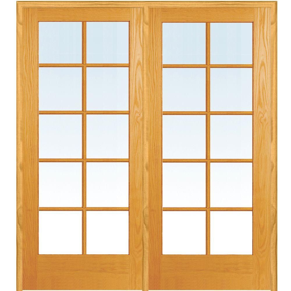 Mmi Door 48 In X 80 In Right Hand Active Unfinished Pine Glass 10 Lite Clear True Divided Prehung Interior French Door Z019944r The Home Depot Glass French Doors Prehung Interior French