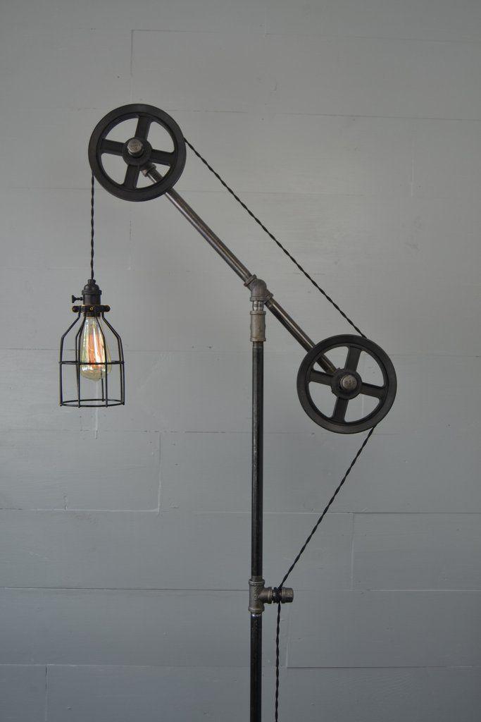 Industrial Floor Lamp with Black Steel Wheels