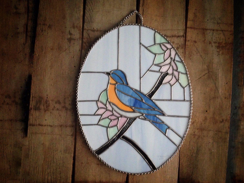 Stained glass blue bird blue bird decor bird by SunDogArtAndGlass