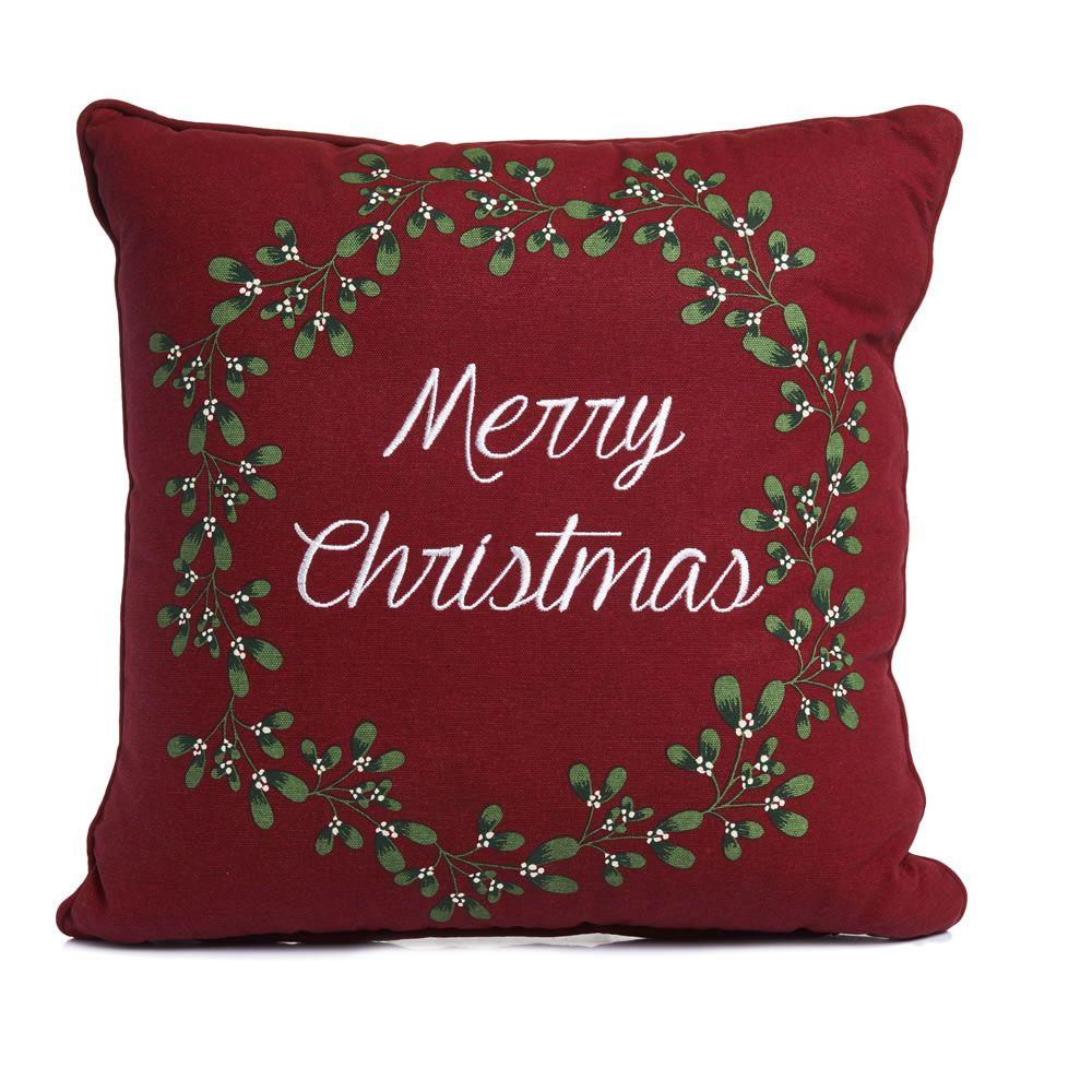 Wilko Merry Christmas Mistletoe Cushion 43x43cm Christmas Cushions Cushions Christmas Decorations