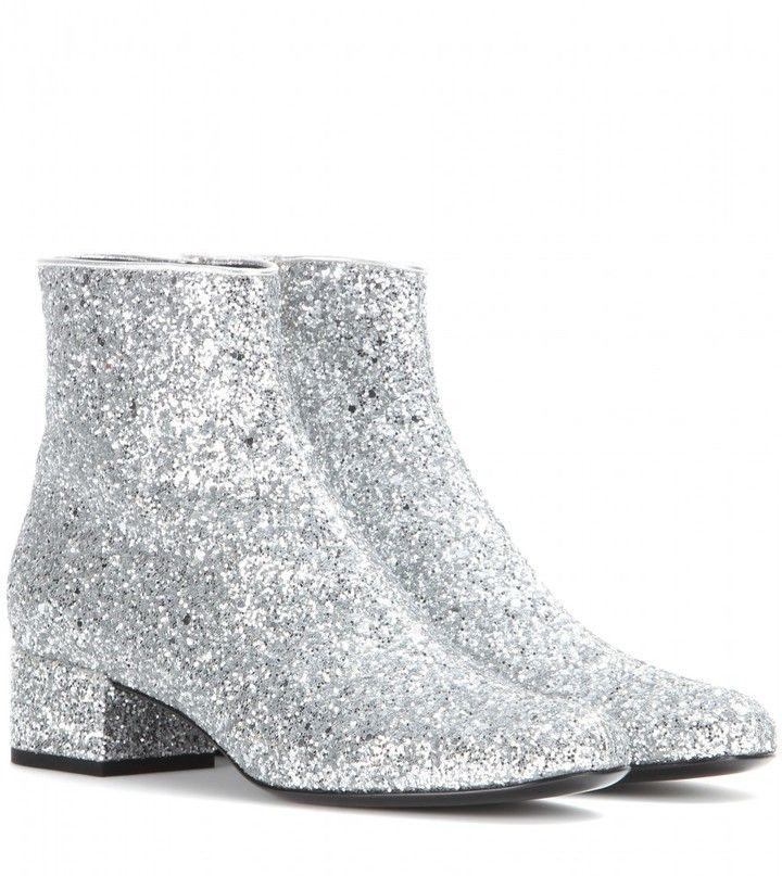 66059c59f8c Saint Laurent Babies glitter ankle boots on shopstyle.com | clothes ...