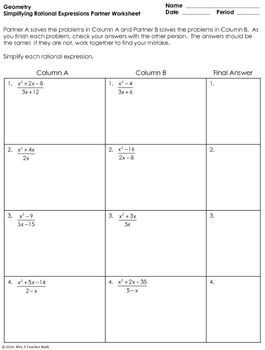 Rational Expressions Partner Worksheet | stuff | Pinterest ...