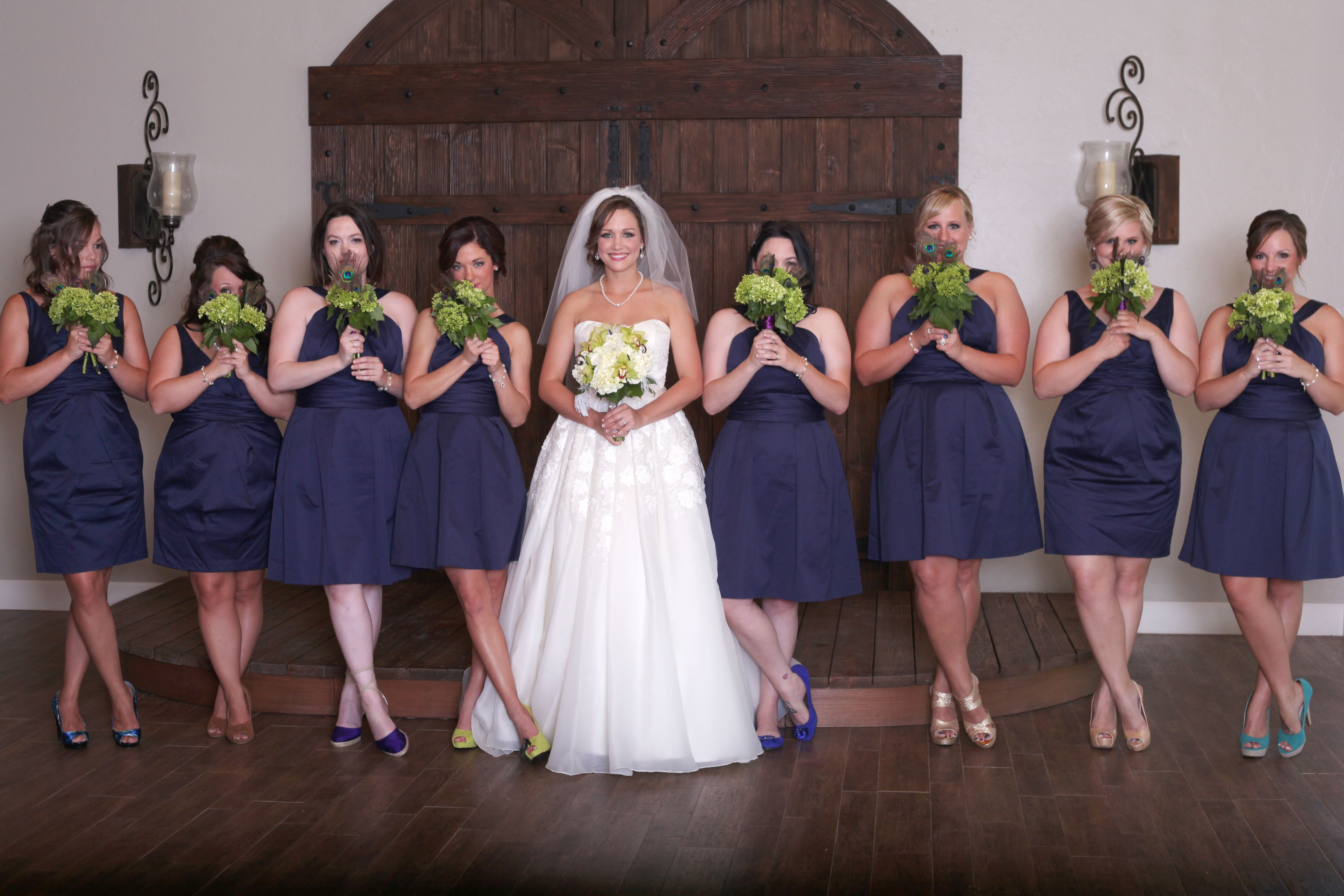Navy Blue Bridesmaids Dresses With Green Hydrangea Peacock