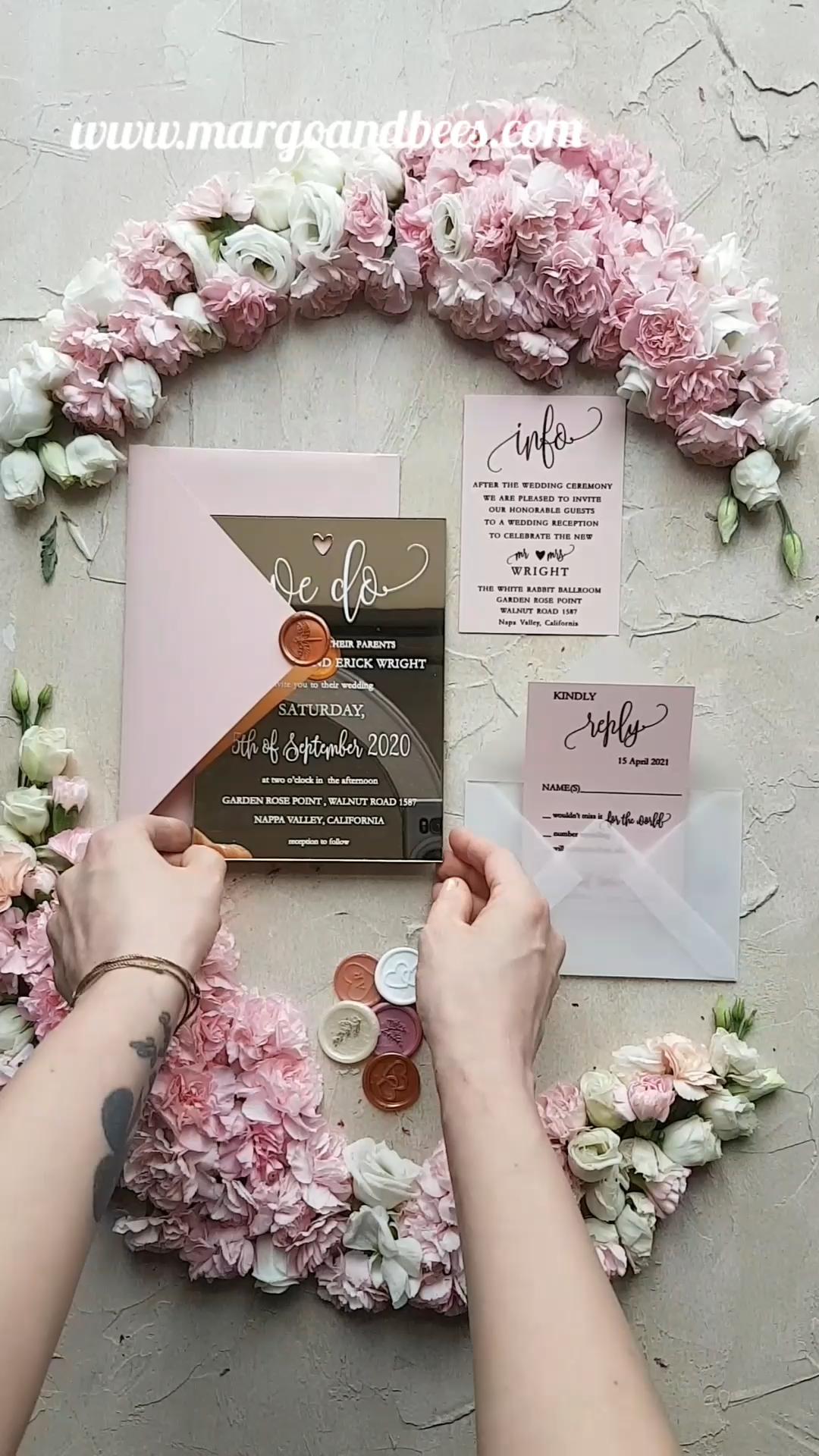 Personalised wedding invitations cards luxury gold mirror acrylic 1/goldak/z