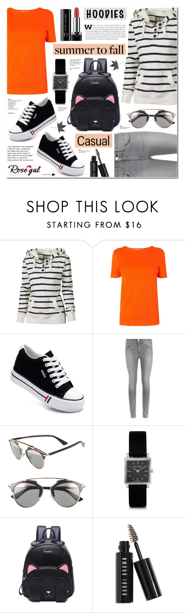 """Summer to Fall Layering-Hoodies- Rosegal 10"" by anyasdesigns ❤ liked on Polyvore featuring L.K.Bennett, rag & bone, Christian Dior, Isabel Marant, Bobbi Brown Cosmetics, Marc Jacobs and Tiffany & Co."