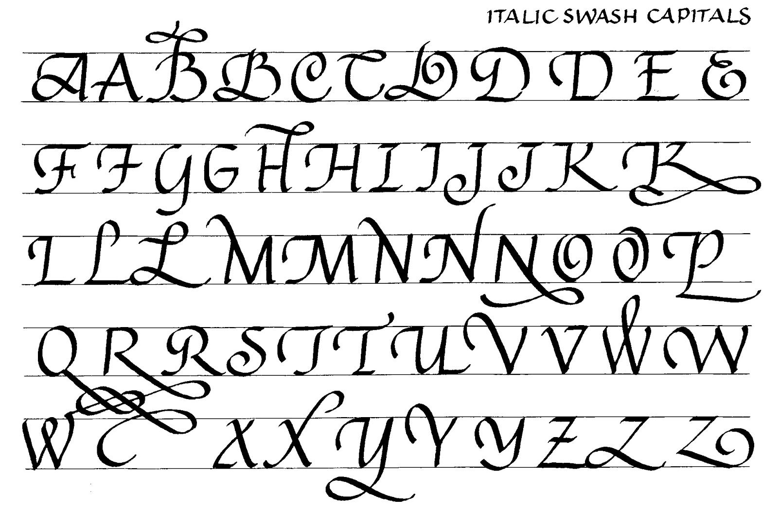 170 Swash Italic Capitals With Options
