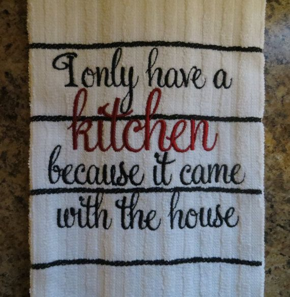 Embroidered Kitchen Towel.Dish Towel..Tea by ADoorableCreations05, $8.99