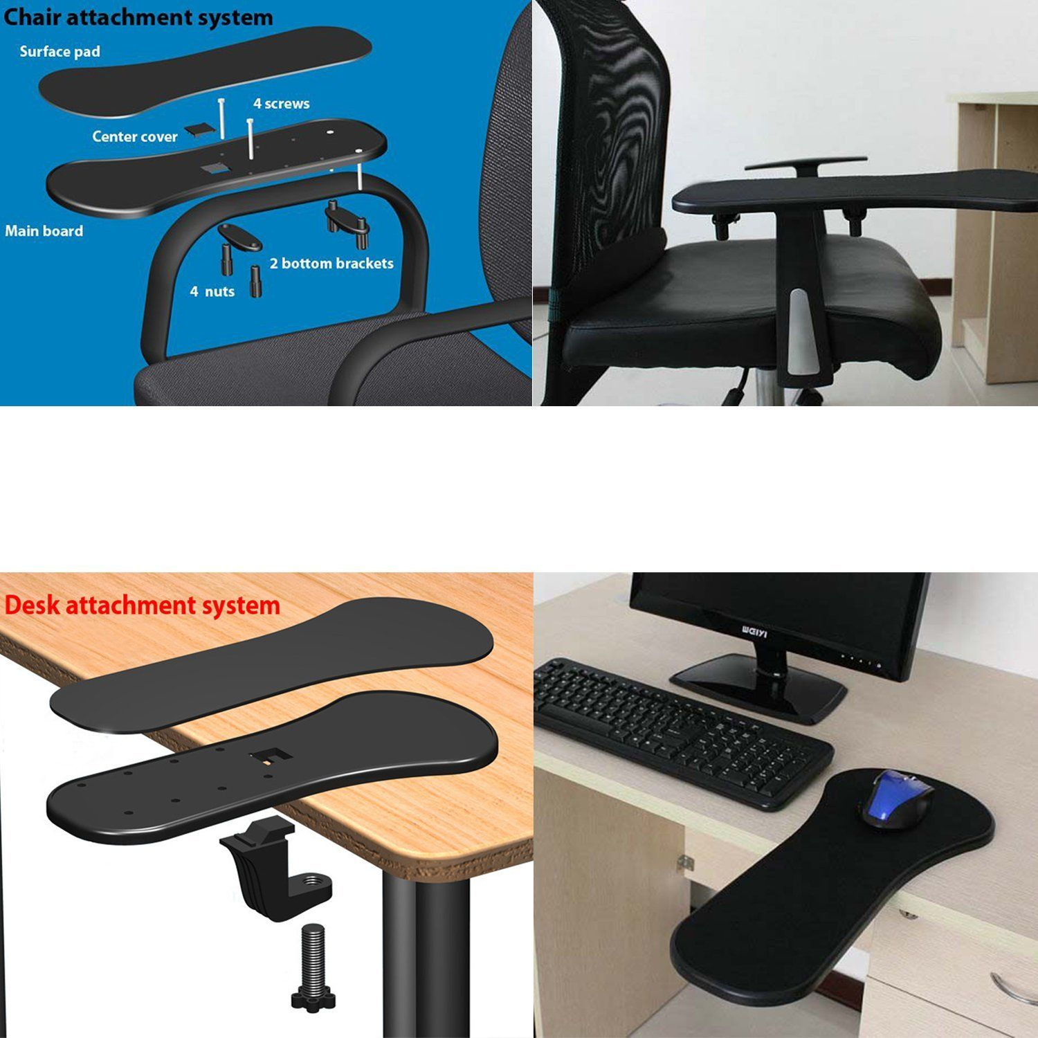 Magnificent Trixes Ergonomic Armrest Mouse Pad Mat With Clamp For Short Links Chair Design For Home Short Linksinfo