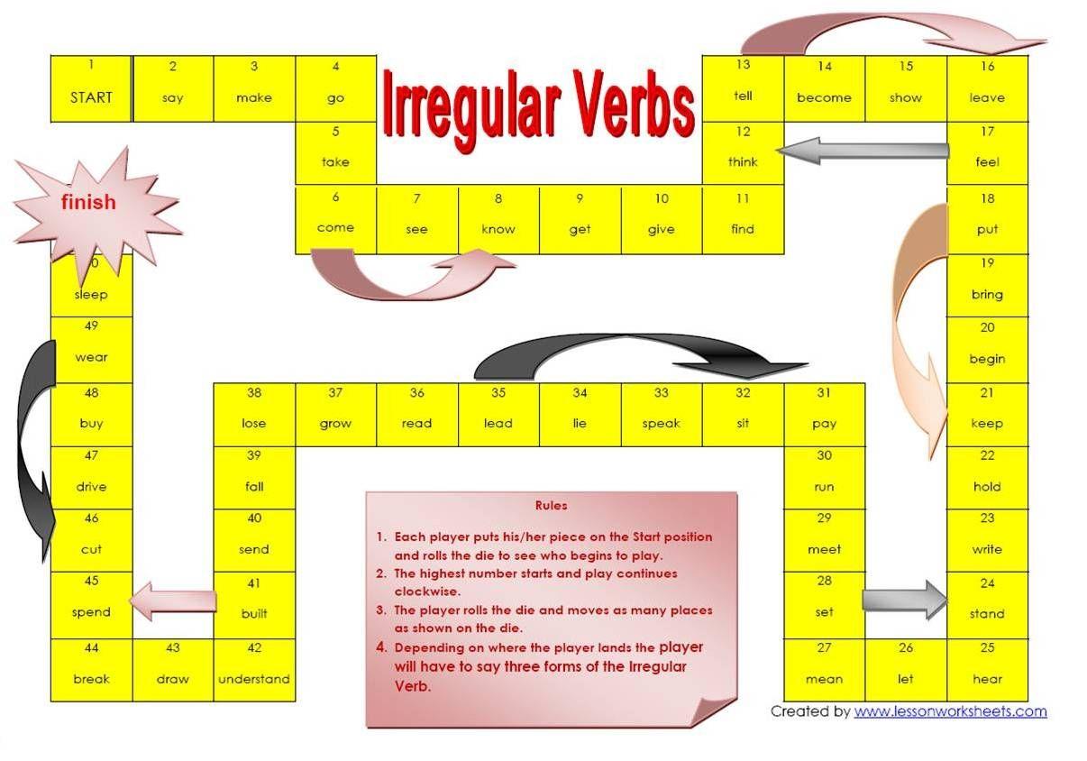 Irregular Verbs Game Irregular Verbs Verb Worksheets Teaching Verbs [ 844 x 1206 Pixel ]
