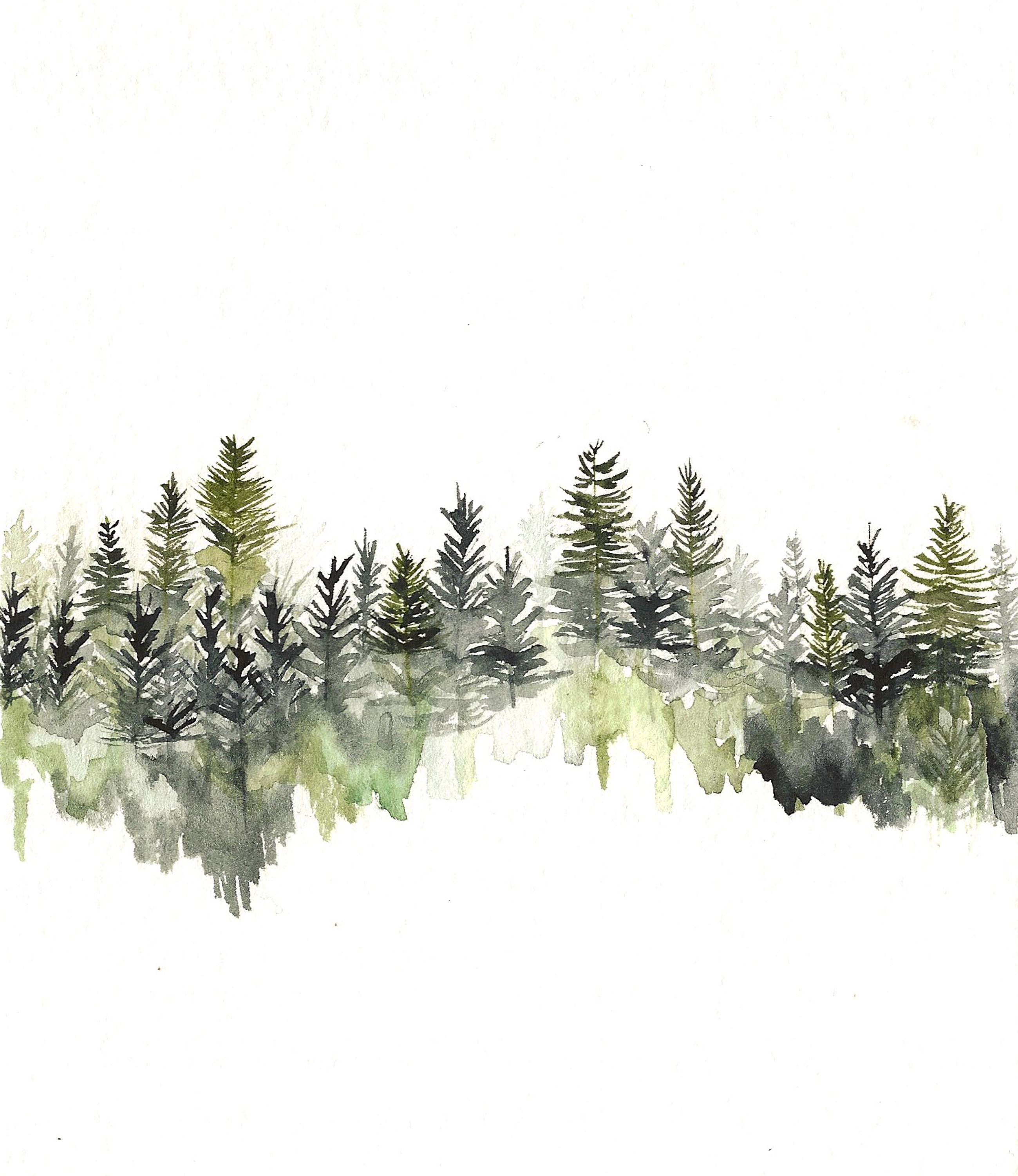 Tree Line Hi By Rachael Ryan Watercolor Treeline Hirachaelryan