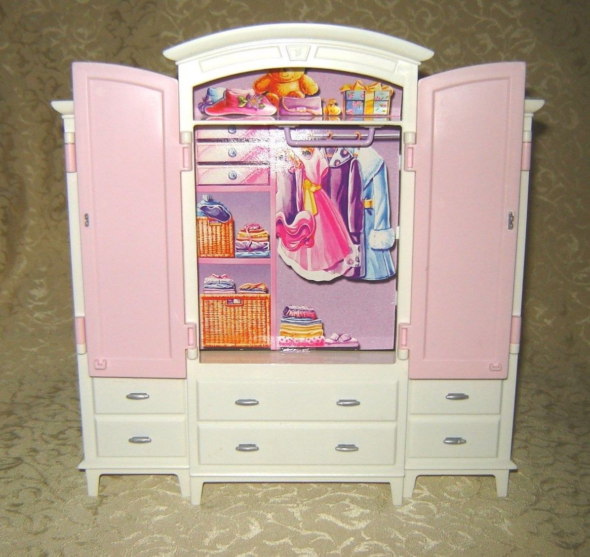 barbie bratz or monster high bedroom furniture 3 pc armoire clothes closet ebay