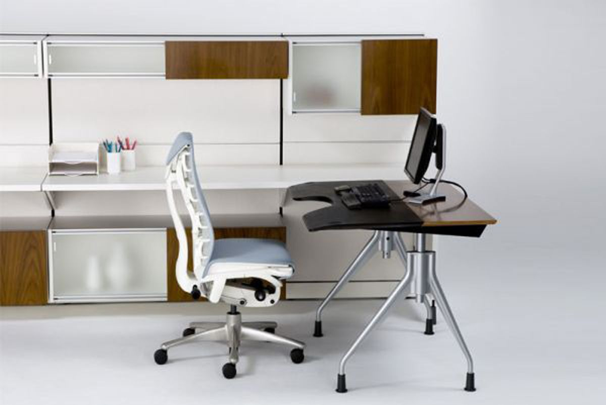 Envelop Writing Desk With Setu Chair Combine Frosted Glass Storage ...