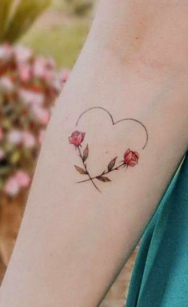 Photo of Cute Heart Line Floral Flower Forearm Tattoo Ideas for Women –  Ideas de tatuaje…