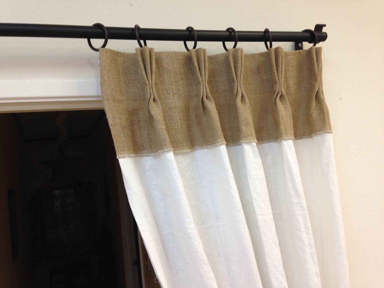 84 lin rideaux rideaux de toile de jute pinch pli par pillowpuff rideaux pinterest window. Black Bedroom Furniture Sets. Home Design Ideas