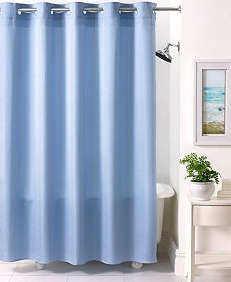 Martha Stewart Collection Bath Accessories, Textured Stripe Hookless Shower  Curtain
