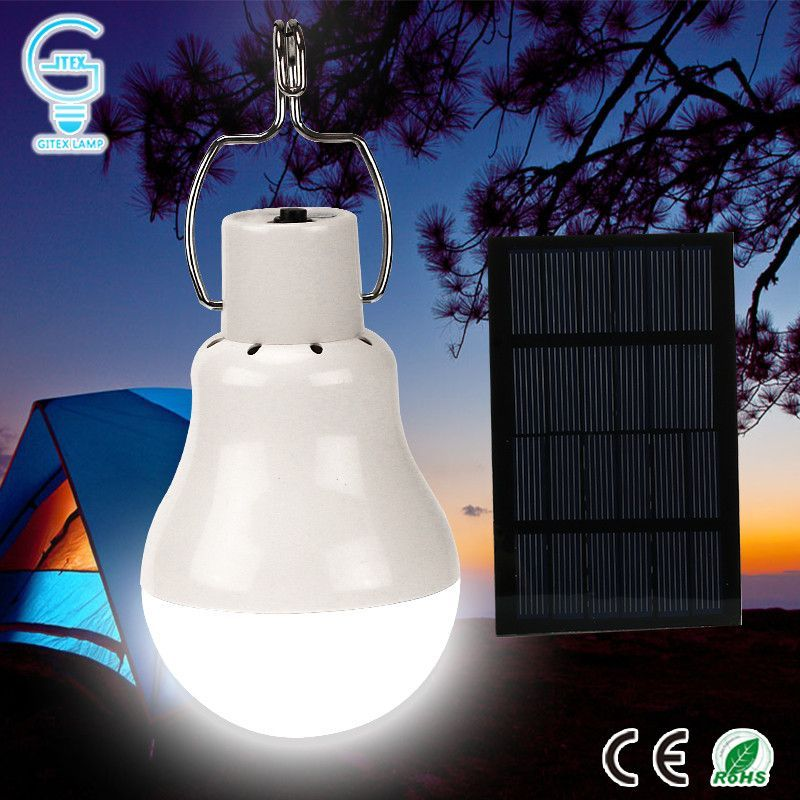 Solar Panel Powered LED Bulb Light Portable Outdoor Camping Tent Energy Lamp