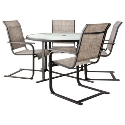 Glass Top Patio Table   Threshold™ Linden 5 Piece Round Patio Dining  Furniture Set