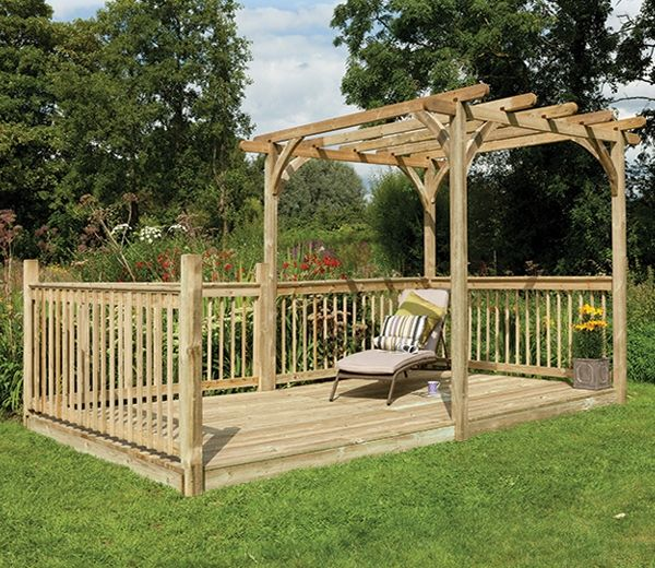 Patio Deck Kit 16ft x 8ft Including Pergola - Patio Deck Kit 16ft X 8ft Including Pergola Gardens, Forests And