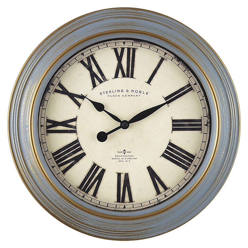 Sterling Noble Farmhouse Collection Estate 11 5 Inch Wall Clock In Grey Bed Bath Beyond Wall Clock Clock Vintage Farmhouse Style