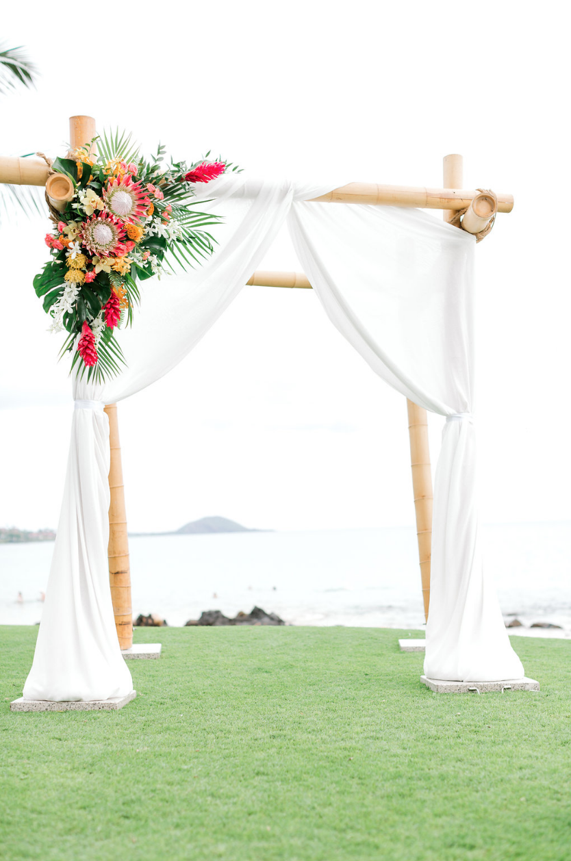 Four Post Bamboo Wedding Canopy With White Drape Tropical Floral Accent Wedding Canopy Tropical Wedding Wedding
