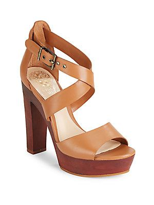 Vince Camuto Womens Kresta Leather Open Toe Casual Platform Brown Size 110 O9