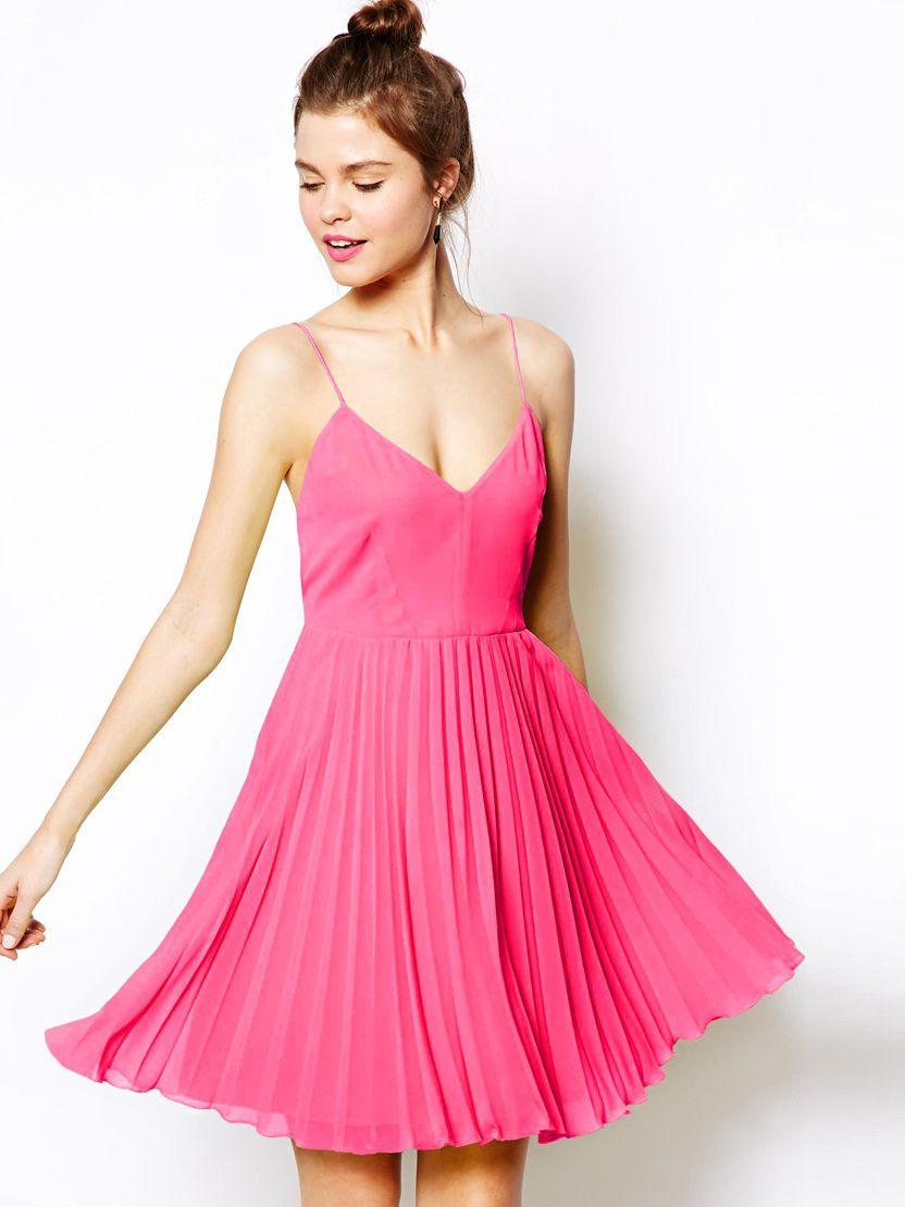 Vestido plisado correa de espagueti-rosa 10.08 | boda falsa ...