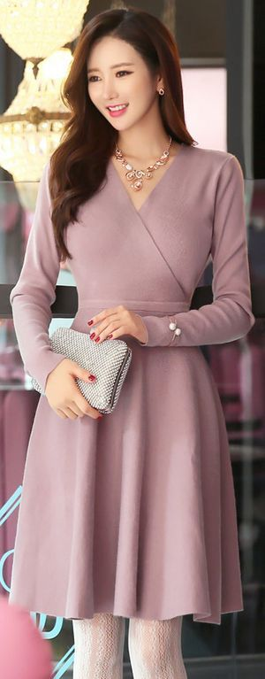 Wrap Knit Flared Dress