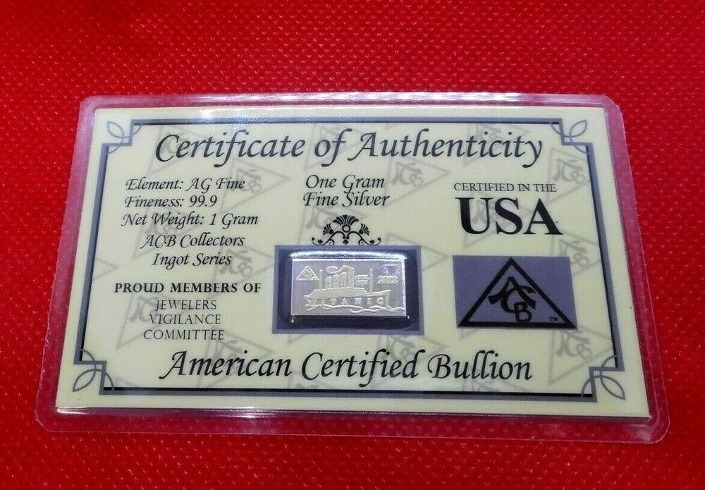 1//3 Gram .999 Fine Silver Bullion Bar in Certificate of Authenticity Card