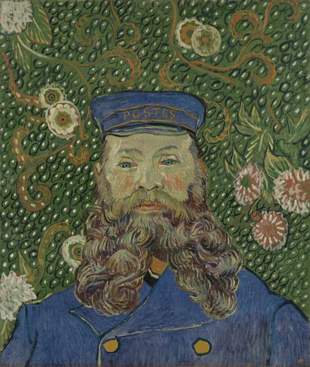 صورة لرجل البريد جوزيف رولين 1889 للرس ام الهولندي فان جوخ اللوحة بألوان الزيت على القماش وأب Van Gogh Art Van Gogh Portraits Vincent Van Gogh Paintings