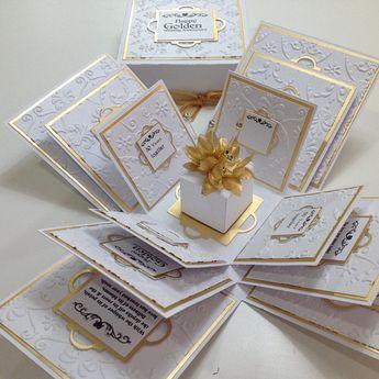 Exploding 50th GOLDEN Wedding Anniversary Box Card- Anniversary Gifts - Gifts for Special Anniversaries - Mr & Mrs
