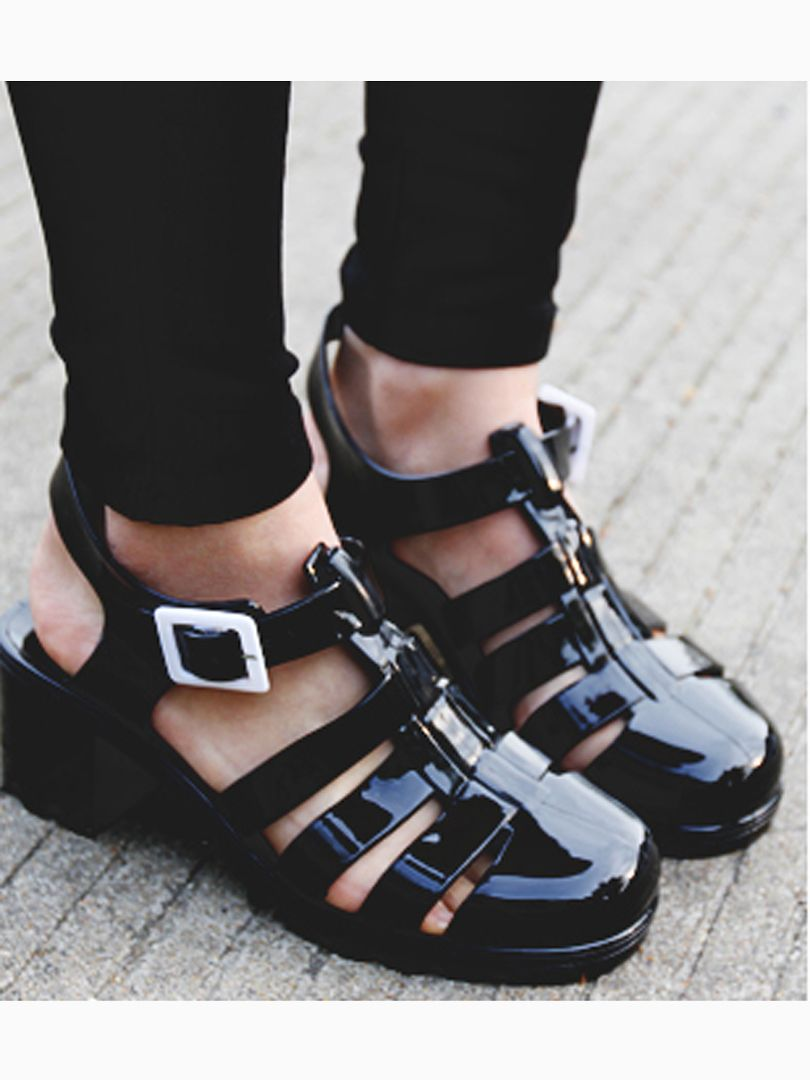 96159831da5a Black Gladiator Jelly Sandals with Block Heel