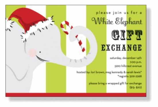 Free Printable Holiday White Elephant Invitation Templates White
