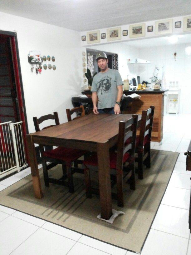 Mesa da sala ainda não finalizada, mas ficou linda. Feito por nós.