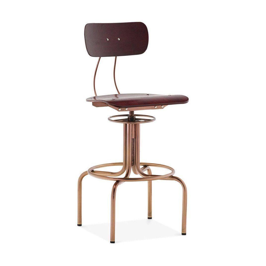 Marvelous Fabrikator Red Walnut Vintage Copper Adjustable High Back Andrewgaddart Wooden Chair Designs For Living Room Andrewgaddartcom