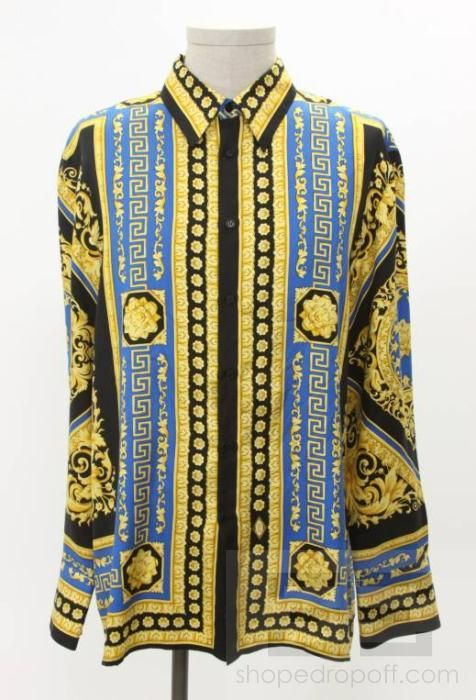 92c53111394cc Gianni Versace Men s Black Blue   Gold Silk Baroque Print Button Up ...