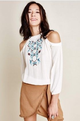 b6a9b559cc Open Shoulder Embroidered Top - Earthbound Trading Co.