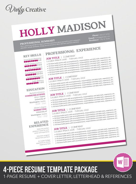 Resume Design Template Cover Letter References By Vivifycreative