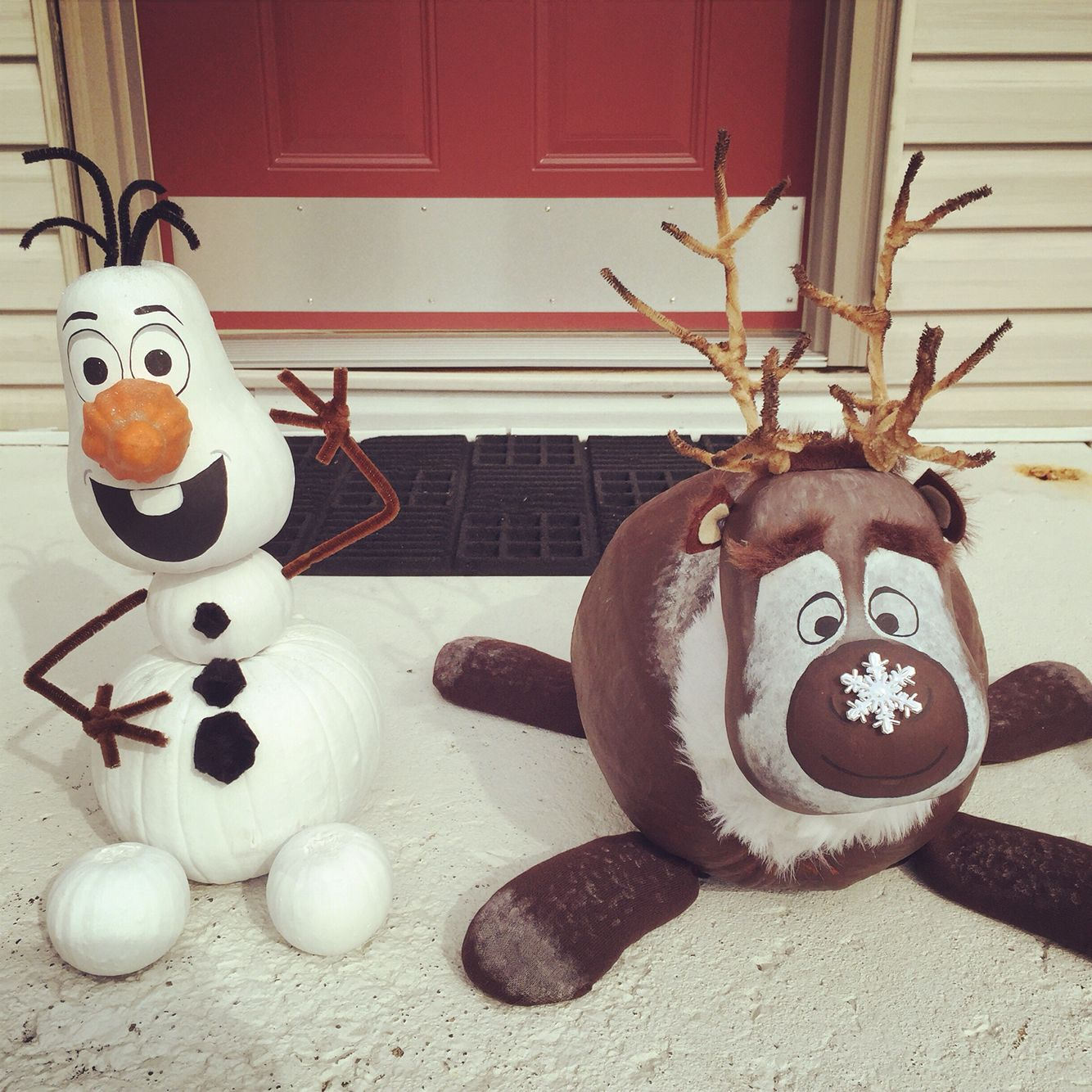 hand painted disney frozen sven and olaf pumpkins made from