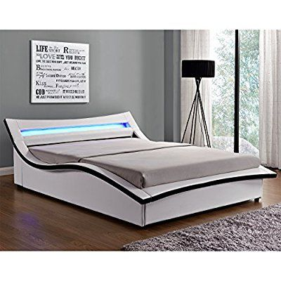 L Hestia Blanc Structure De Lit En Simili Avec Coffre Sommier Et Led Integrees 140 X 190 Cm Furniture Bed Home Decor