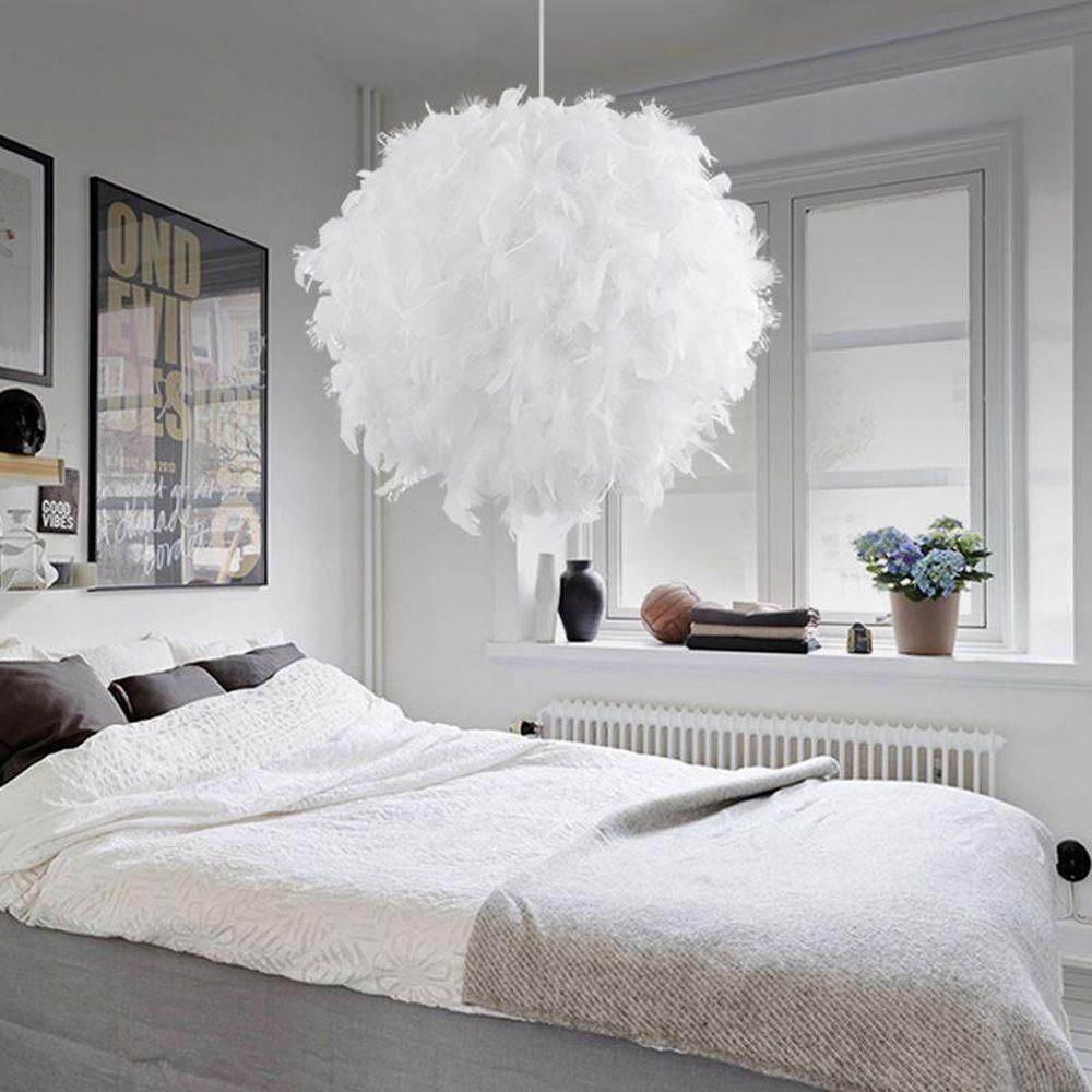 Fashion Feather Ball Bedroom Pendant Lamp Creative Study Room