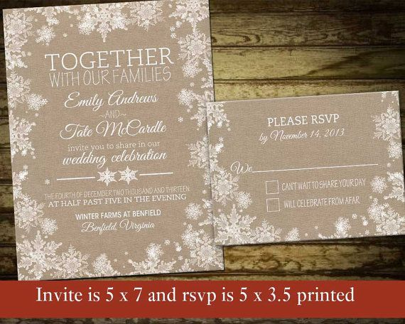 Rustic Winter Wedding Invitation Set Printable Snowflake Wedding  Winter Wedding Invite Silver