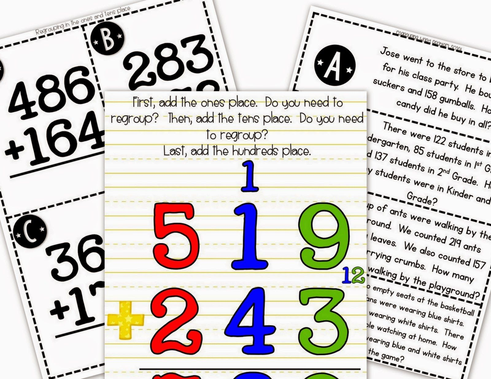 Step Into 2nd Grade With Mrs Lemons Triple Digit Addition With Regrouping Elementary School Students Homeschool Math Guided Math Math antics addition with regrouping