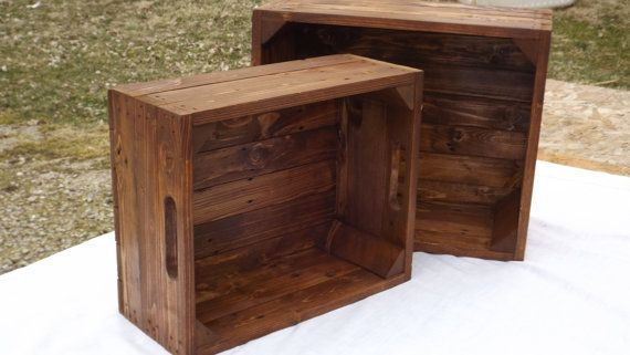 Two storage crates from reclaimed wood    These crates are made when ordered    You will be getting 2 crates a small crate and large crate    The