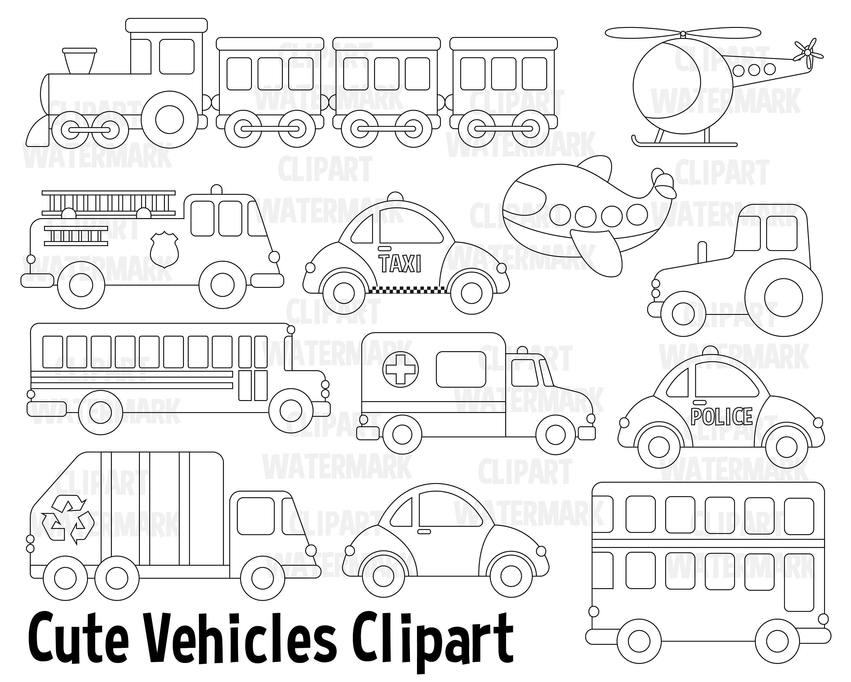 Transportation Clipart Community Vehicles Cars Clip Art Truck Van Lorry Ambulance School Bu Clip Art Digital Stamps Birthday Party Invitations Printable