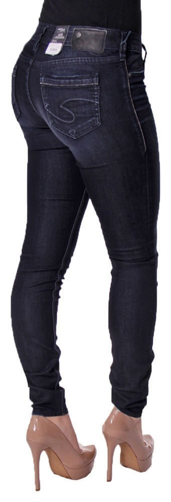 NEW Womens SILVER JEANS Mid Rise Dark Suki Skinny Stretch Jegging