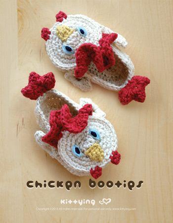 Chicken Baby Booties 2 Crochet PATTERN | Babyschühchen, Mütze und Hübsch