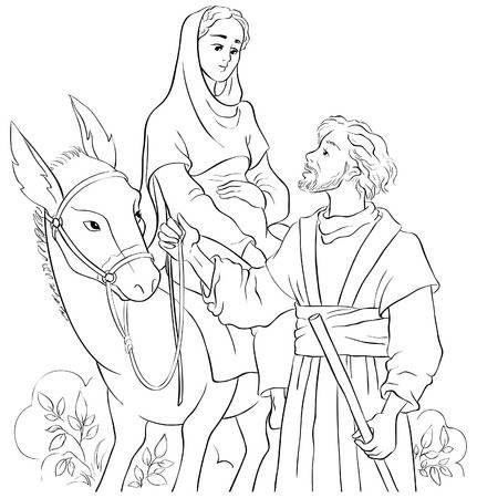 Mary and Joseph travelling by donkey to Bethlehem ...