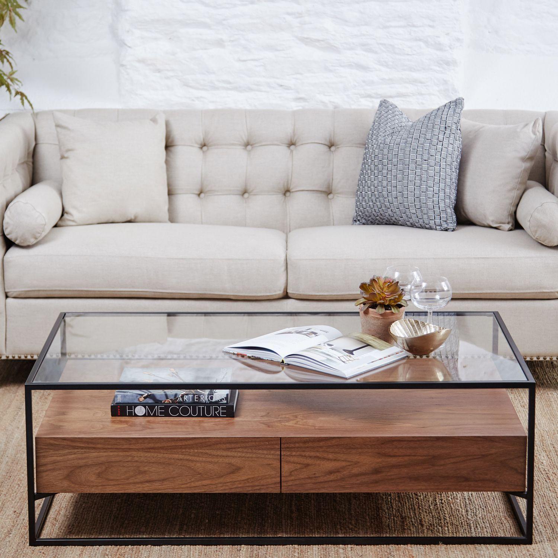 Ashabi Walnut Glass Coffee Table Center Table Living Room Coffe Table Decor Luxury Furniture Design